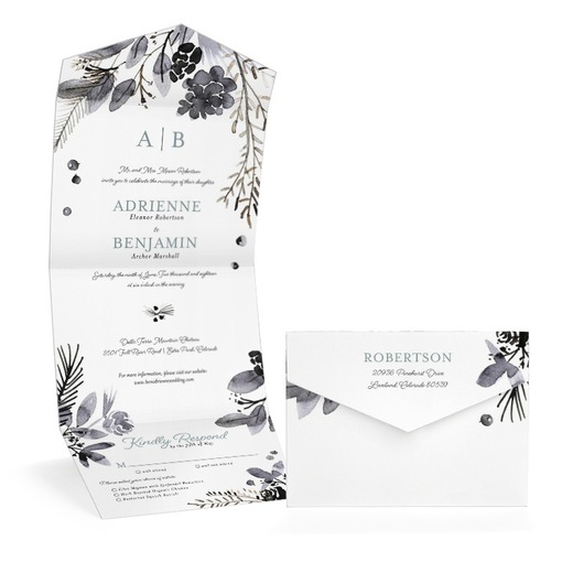 romantic branches wedding invitation