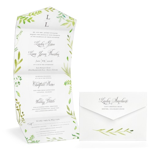 stunning greenery wedding invitation