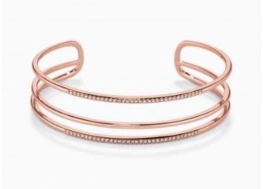 Pave Open Bar Cuff - Rose Gold