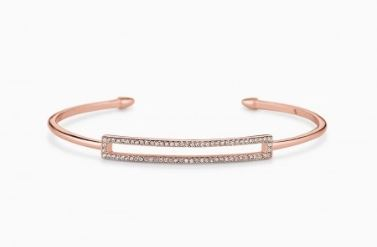 Pave Rectangle Cuff - Rose Gold
