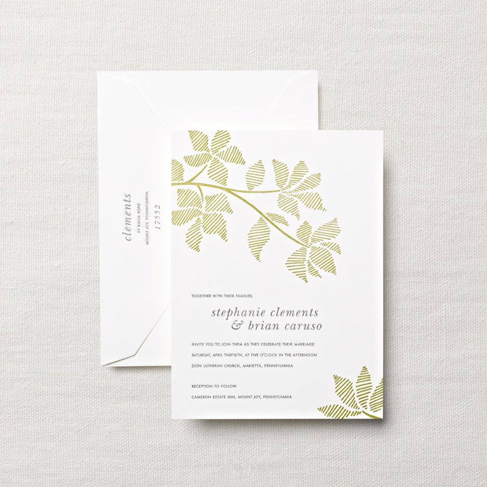 letterpress embassy wedding invitation with leaves